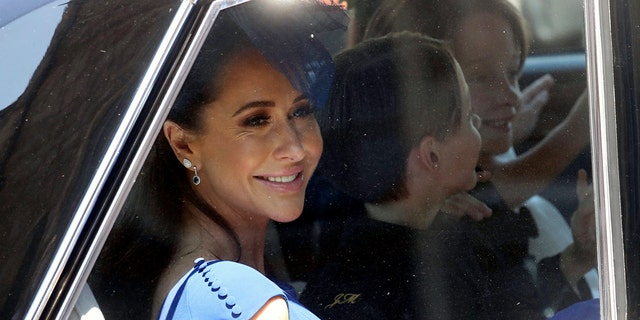 Jessica Mulroney arrives at the wedding ceremony of Prince Harry and Meghan Markle at St. George's Chapel in Windsor Castle in Windsor, near London, England, Saturday, May 19, 2018.