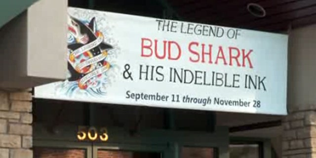 """""""The Misadventures of the Romantic Cannibals,"""" a multi-panel art piece which includes an image of Jesus apparently receiving oral sex from a man is part of the """"The Legend of Bud Shark and His Indelible Ink"""" on display at the Loveland Museum Gallery in Loveland, Colo."""