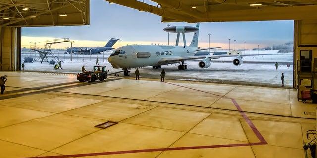 A US Air Force E-3 Sentry AWACS prepares for flight at Joint Base Elmendorf Richardson.