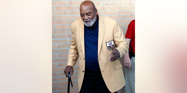 Former NFL player Jim Brown arrives for the inductions at the Pro Football Hall of Fame on Saturday, Aug. 4, 2018, in Canton, Ohio.