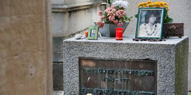 Jim Morrison's grave, Père Lachaise Cemetery, Paris, France.