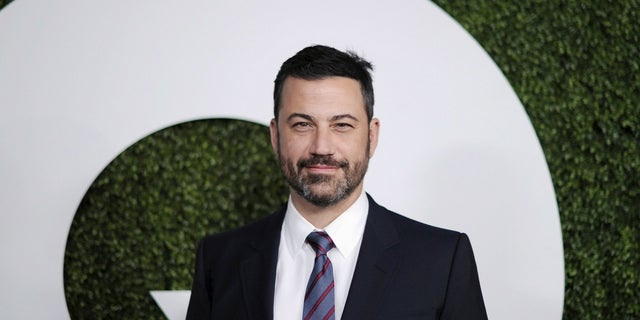 Jimmy Kimmel was targeted by a conservative artist with a traffic sign on Sunset Boulevard.
