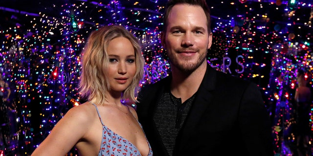 """Jennifer Lawrence (left) and Chris Pratt co-starred in the film """"Guardians of the Galaxy."""" Rumors swirled that the pair had an on-set affair but both parties have strongly denied the rumors."""