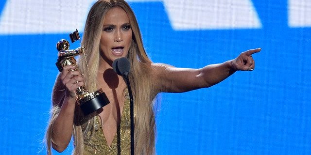 Jennifer Lopez accepts the Video Vanguard award at the MTV Video Music Awards at Radio City Music Hall on Monday, Aug. 20, 2018, in New York.