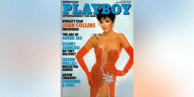 Joan Collins on the December 1983 cover of Playboy Magazine.