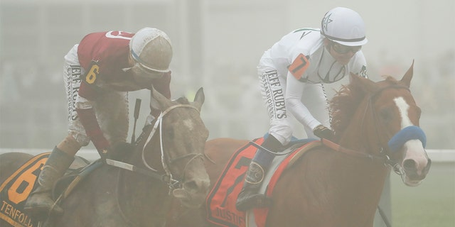 Justify ran through fog and mud during both the Kentucky Derby and the Preakness Stakes.