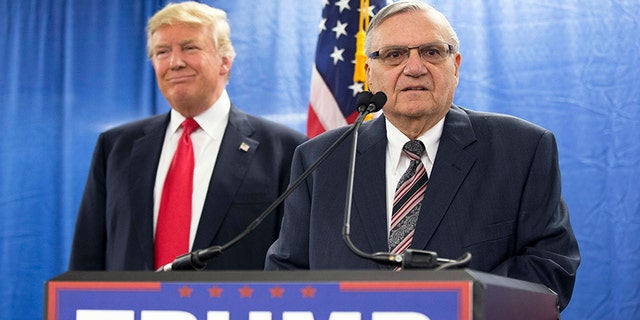At left, then-candidate Donald Trump in Marshalltown, Iowa on January 26, 2016; at right, former Maricopa County Sheriff Joe Arpaio.