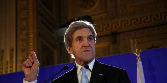U.S. Secretary of State John Kerry gives a press conference after a meeting on Syria, in Paris, Saturday, Dec. 10, 2016. (AP Photo/Thibault Camus)