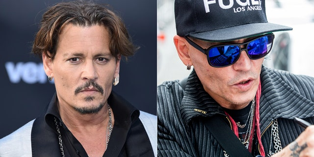 Johnny Depp is seen on May 19, 2017, left, and again on June 2, 2018.