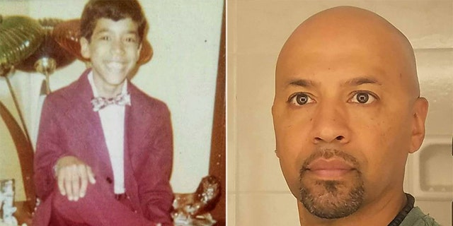Johnny Vega, at 9 years old, left, when he began to experience abuse by clergy; recent photo, right