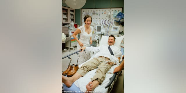 Johnny and Laura Benson in the hospital.