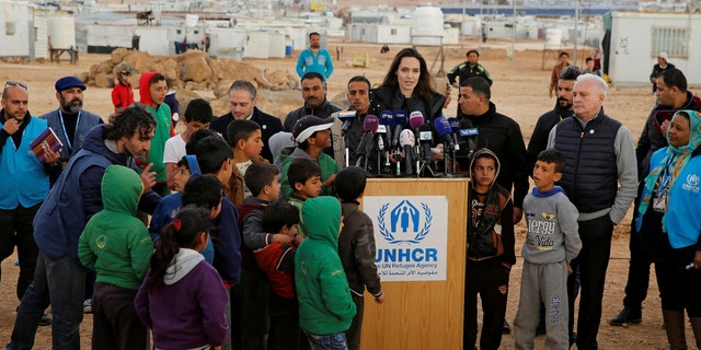 Actor Angelina Jolie, UNHCR Special Envoy, speaks during a news conference at the Al Zaatri refugee camp, in the Jordanian city of Mafraq, near the border with Syria, January 28, 2018. REUTERS/Muhammad Hamed - RC113D844240