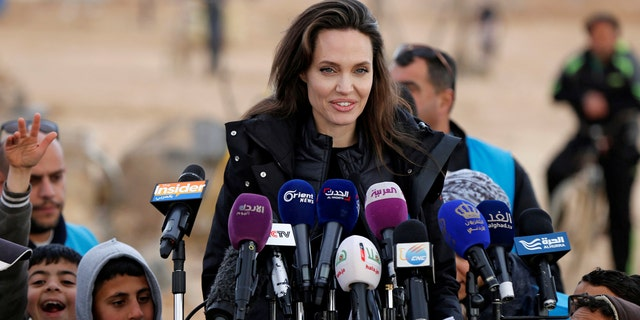 Actress Angelina Jolie  speaks during a news conference at the Al Zaatri refugee camp, in the Jordanian city of Mafraq, near the border with Syria, January 28, 2018.