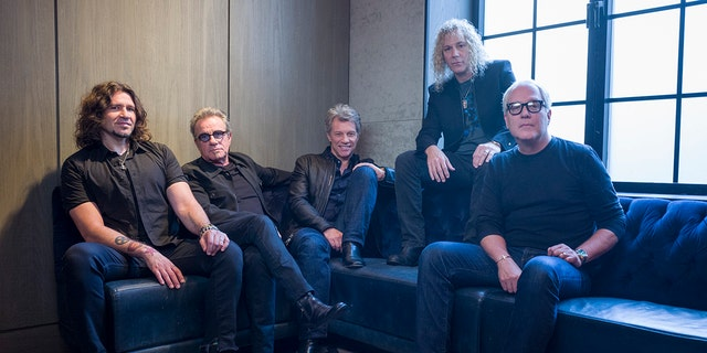 In this Oct. 19, 2016 file photo, members of Bon Jovi from left, Phil X, Tico Torres, Jon Bon Jovi, David Bryan and Hugh McDonald pose for a portrait in New York. The band will was inducted into the Rock and Roll Hall of Fame on April 14, 2018 in Cleveland, Ohio. (Photo by Drew Gurian/Invision/AP, File)