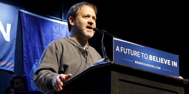 Jon Fishman, drummer in the band Phish, introduces U.S. Democratic presidential candidate and U.S. Senator Bernie Sanders at a campaign rally in Portland, Maine March 2, 2016.