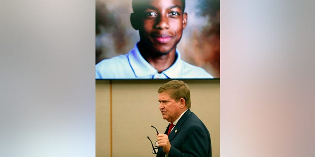 Prosecutor Michael Snipes makes his closing argument Monday in front of an image of Jordan Edwards.