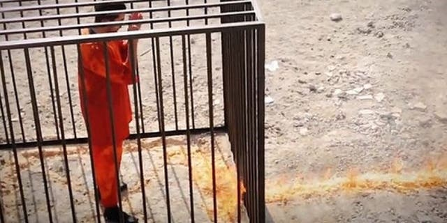 Jordanian fighter pilot Muath al-Kasasbeh being executed by ISIS.