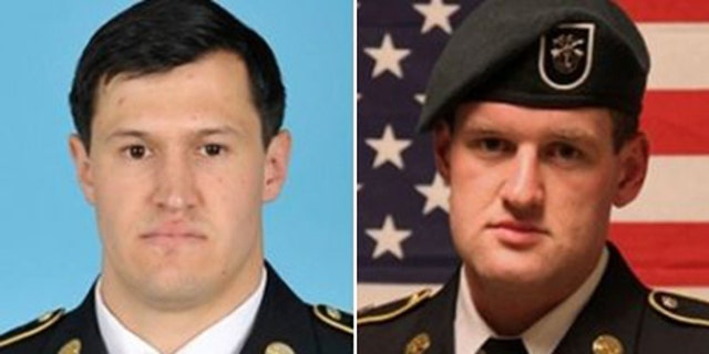 Staff Sgt. Matthew C. Lewellen (left), 27, of Kirksville, Mo., and James F. Moriarty, 27, of Kerrville, Tex