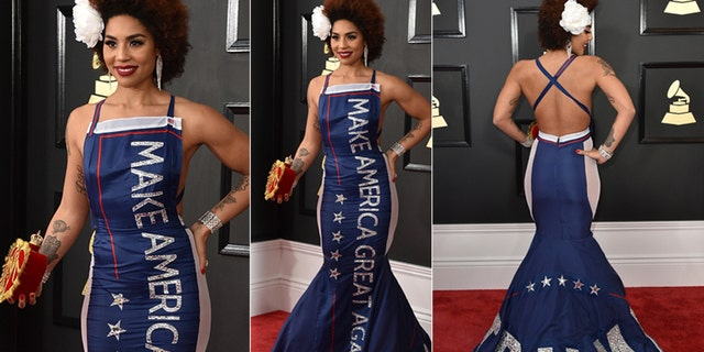 Joy Villa wears a gown that says Trump as she arrives at the 59th annualGrammyAwards at the Staples Center on Sunday, Feb. 12, 2017, in Los Angeles.