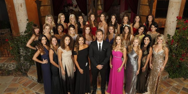 """Juan Pablo Galavis poses with the ladies on """"The Bachelor."""""""
