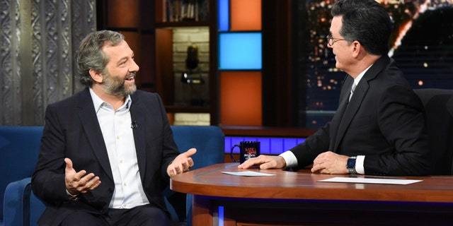 """Judd Apatow on """"The Late Show with Stephen Colbert"""" on July 30, 2018."""