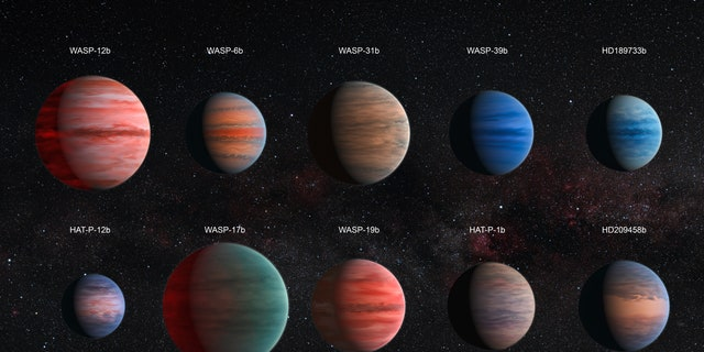 This image shows an artist's impression of the ten hot Jupiter exoplanets studied by David Sing and his colleagues. The images are to scale with each other. HAT-P-12b, the smallest of them, is approximately the size of Jupiter, while WASP-17b, the largest planet in the sample, is almost twice the size. The planets are also depicted with a variety of different cloud properties.