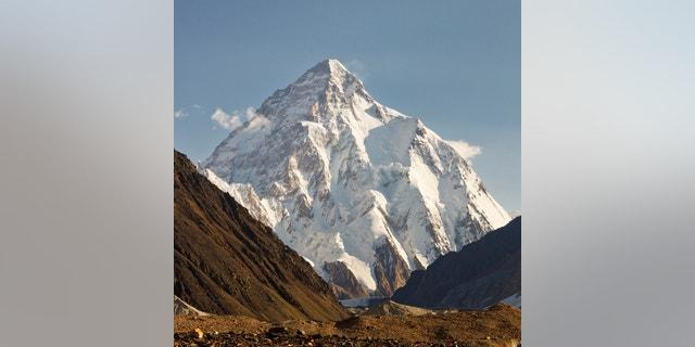 K2 in the Karakorum Mountains, Pakistan, in early morning light.