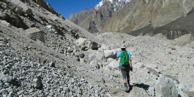 Sequoia Di Angelo treks toward K2 base camp, where she and local guides mounted their exploration. (Sequoia Di Angelo)