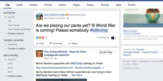 Hastags like #KillTrump and #RapeMelania have surfaced on social media since Tuesday.