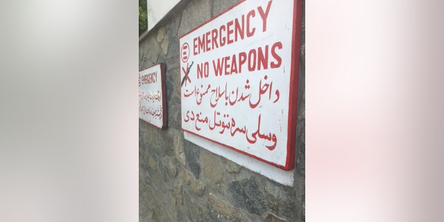 Outside the Emergency Center for War Victims in Kabul, Afghanistan