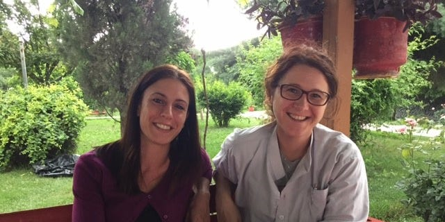 Cristina Contini, the country administrator and Giorgia Novello, the medical coordinator for EMERGENCY's hospital in Kabul, Afghanistan