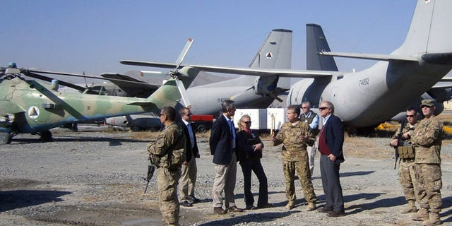 Shown here are G222 aircraft sitting on an airfield at Kabul International Airport.