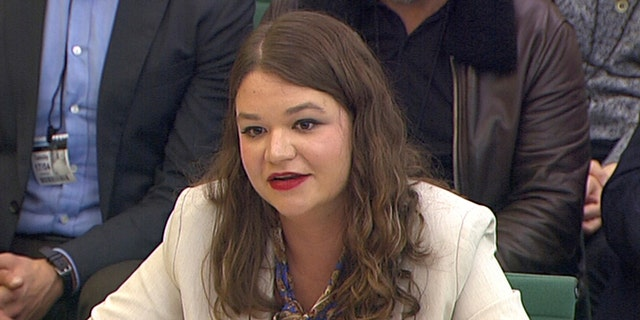 Brittany Kaiser, former Cambridge Analytica employee, is seen above testifying before British Parliament.