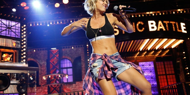 "Kaley Cuoco performs on Spike TV's ""Lip Sync Battle."""
