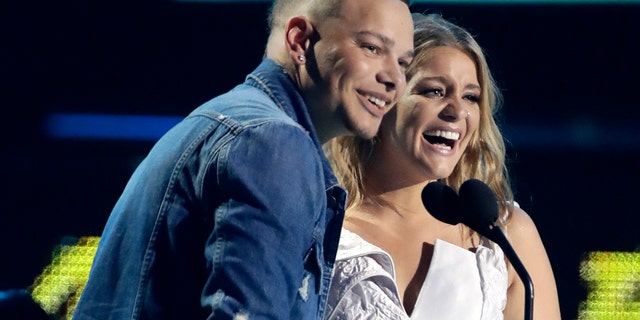 """Kane Brown, left, and Lauren Alaina, won an award for """"What Ifs."""""""