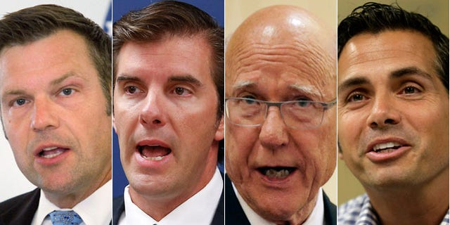 In this combination of Sept. 2014 photos are: Republican Kansas Secretary of State Kris Kobach, left; Chad Taylor, center left, the Democratic nominee for the U.S. Senate; Republican Sen. Pat Roberts, center right, and Independent Senate candidate Greg Orman, right. (AP)