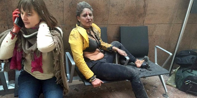 Two wounded women at the Brussels airport Tuesday.