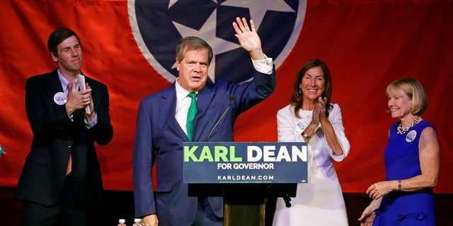 Karl Dean, who was favored to win the Democratic gubernatorial nomination in Tennessee, celebrates his victory Thursday.