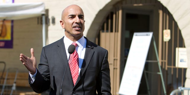 July 31, 2014: Republican candidate for governor Neel Kashkari discusses issues related to poverty in California during a news conference outside of the River City Food Bank in Sacramento, Calif.