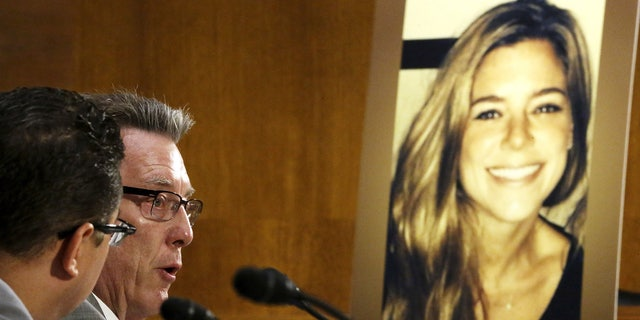 Jim Steinle (L), father of murder victim Kathryn Steinle (in photo, R), allegedly at the hands of an undocumented immigrant, testifies about his daughter's murder during a hearing of the Senate Judiciary Committee on U.S. immigration enforcement policies, on Capitol Hill in Washington July 21, 2015.  REUTERS/Jonathan Ernst      TPX IMAGES OF THE DAY      - GF10000165913