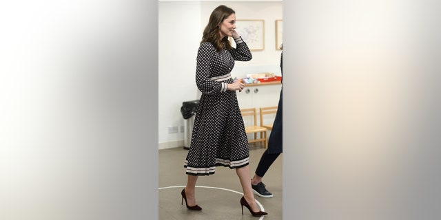 Kate Middleton sported the label during a visit to the Foundling Museum in London.