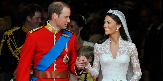 Kate Middleton with husband Prince William on their wedding day.