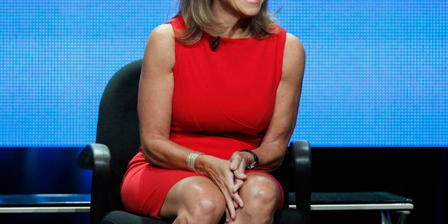 """July 26, 2012. Host Katie Couric attends a panel for """"Katie"""" during the Disney/ABC Television Group portion of the Television Critics Association Summer press tour in Beverly Hills, California."""
