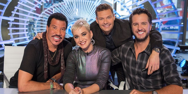 """American Idol"" judges Lionel Richie, Katy Perry, host Ryan Seacrest and Luke Bryan."