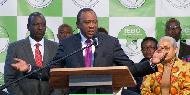 Uhuru Kenyatta addressed the crowd after winning a second term as opposition candidate Ralia Odinga claimed the vote was rigged.