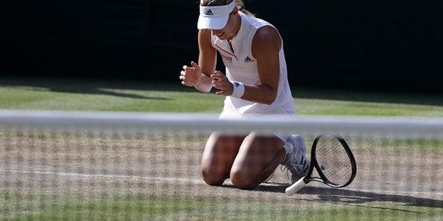 Angelique Kerber reacts to winning her first Wimbledon title.
