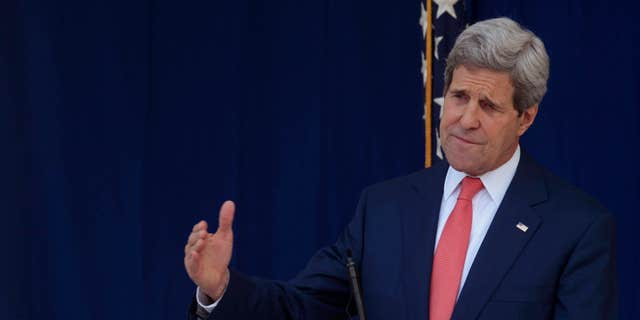 Jan. 25, 2015: U.S. Secretary of State John Kerry speaks to the media after visiting with Nigerian political leaders to have talks on the Nigeria elections to take place next month in Nigeria.