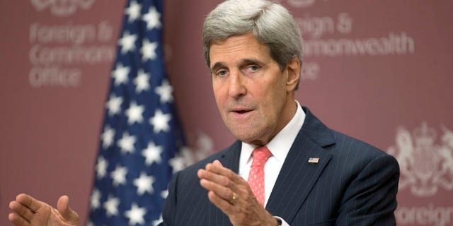 Oct. 22, 2013: Secretary of State John Kerry speaks to the media at the British Foreign Office in London.