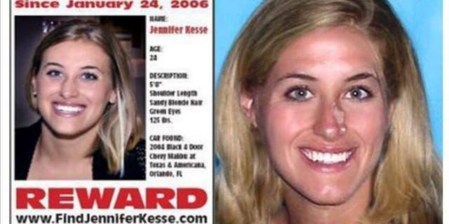 Jennifer Kesse được chụp hình bên trái ở tuổi 24. Các nhà điều tra đã cải thiện hình ảnh của cô vào năm 2016, hình bên phải, để cho thấy cô sẽ trông như thế nào sau 10 năm.