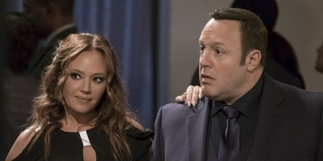 """""""Sting of Queens: Part One"""" and """"Sting of Queens: Part Two""""-- Kevin begrudgingly agrees to come out of retirement briefly to reprise an undercover assignment where he and his old rival Vanessa Cellucci (Leah Remini), once again, pose as husband and wife. Also, Donna is up for a promotion, Kendra gets accepted to law school, and Chale gets a lucrative new job, on part one of the two-part first season finale of KEVIN CAN WAIT, Monday, May 1 (8:00-8:30 PM, ET/PT) and Monday, May 8 (8:00-8:30 PM, ET/PT) on the CBS Television Network. Pictured: Leah Remini, Kevin James.   Credit: Jeff Neumann/CBS ©2017 CBS Broadcasting, Inc. All Rights Reserved"""